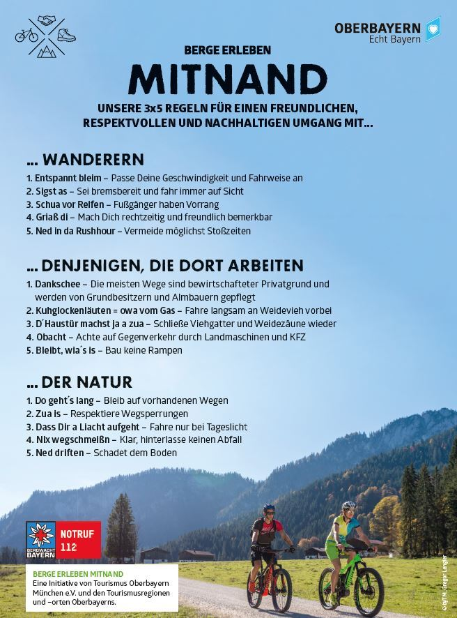 Mitnand im Tölzer Land unterwegs - Fahrradfahrer, Mountainbiker & Wanderer, Spaziergänger!